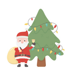 santa with bag bell and tree lights celebration vector image