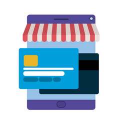screen with tent and credit card isolated icon vector image