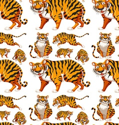 Seamless background with many tigers vector image