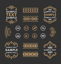 Set of Four Line Art Decorative Geometric Frames vector