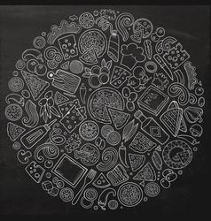 set of pizza cartoon doodle objects symbols vector image