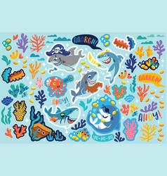 shark pirates treasures and corals sticker set vector image