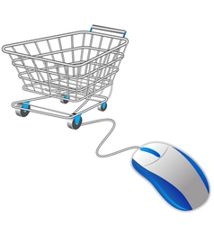 shopping basket and mouse vector image