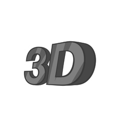 Sign 3d icon black monochrome style vector