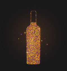 silhouette wine bottle on black background vector image