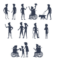 Silhouettes of disable humans on wheelchairs vector