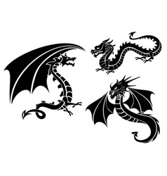 Silhouettes of three dragons vector