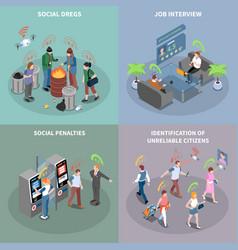 Social penalties design concept vector
