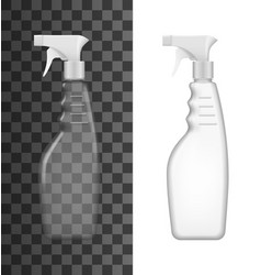 Spray bottles white and clear plastic vector