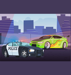 street racing in city scene with chasing police vector image