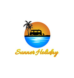 summer holiday logo design vector image