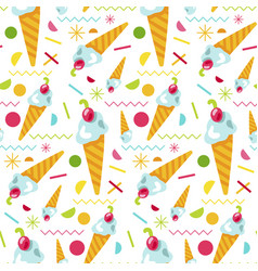 sweet tasty ice cream seamless pattern vector image