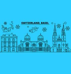 Switzerland basel winter holidays skyline merry vector