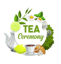 tea ceremony poster black beverage in cup vector image