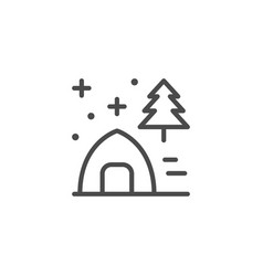 tent in forest line outline icon vector image