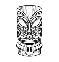 Tiki tribal wooden mask design element for logo vector