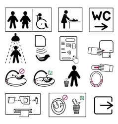 Toilet and bathroom signs for public places vector