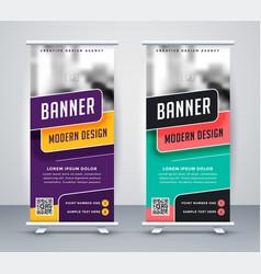 Trendy rollup creative banner design template vector