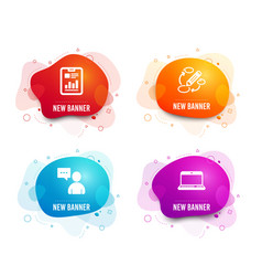 Users chat report document and keywords icons vector