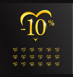 value discounts 10 percent sale gold numbers and vector image