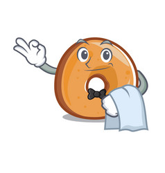 Waiter bagels mascot cartoon style vector