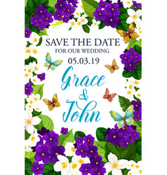 Wedding invitation with save the date flower frame vector
