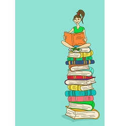 With girl sitting on a stack of books and reading vector