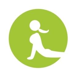 Woman silhouette yoga pose green circle vector