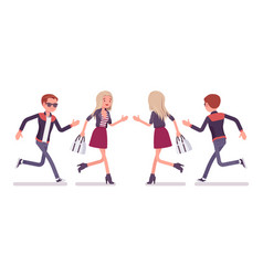 Young man and woman running vector