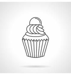 Cream cupcake flat line icon vector image