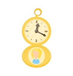 Golden pocket watch icon cartoon style vector image