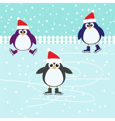 Ice skating cute Penguins vector image vector image