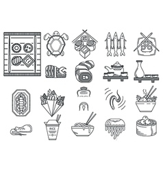 Japanese food black line icons vector image vector image