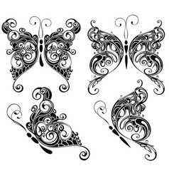 Set of butterflies silhouettes isolated on white b vector