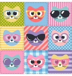 patchwork background with cats and sunglasses vector image vector image