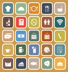 Restaurant flat icons on brown background vector image vector image