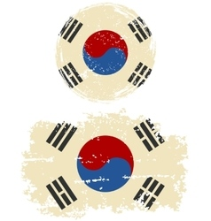 South Korean round and square grunge flags vector image vector image