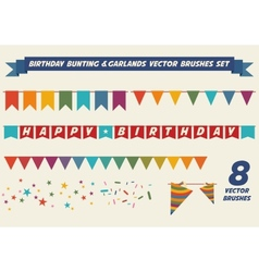 Birthday garlands brushes vector image vector image