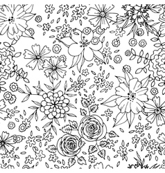 Black and white flower seamless pattern vector image