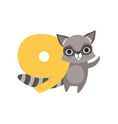 funny raccoon animal and number nine birthday vector image vector image