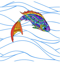 Hand drawn stylized sea fish zen-doodle style vector