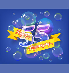 happy 55th anniversary glass bulb numbers set vector image vector image