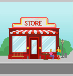 red retro store facade front view of city vector image