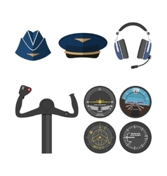 Set of icons of aviation in a flat style vector image vector image