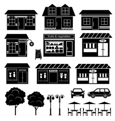 Set of icons of houses and shops vector image vector image