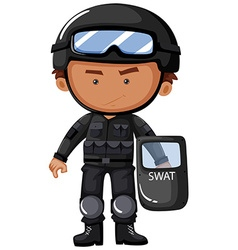SWAT officer in safety uniform vector image vector image