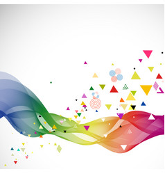 abstract colorful flow wave and various triangle vector image