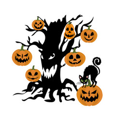 evil tree and pumpkin vector image vector image