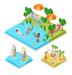 isometric outdoor activity water polo surfing vector image vector image