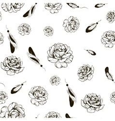 roses and feathers vector image